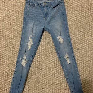 holister light wash jeans high rise super skinny